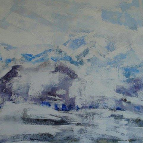 Eine bergige Landschaft aus Acrylfarben von Brigitt Müller